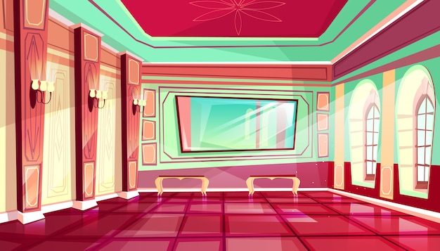 Palace ballroom illustration of royal hall of luxury medieval castle. Free Vector