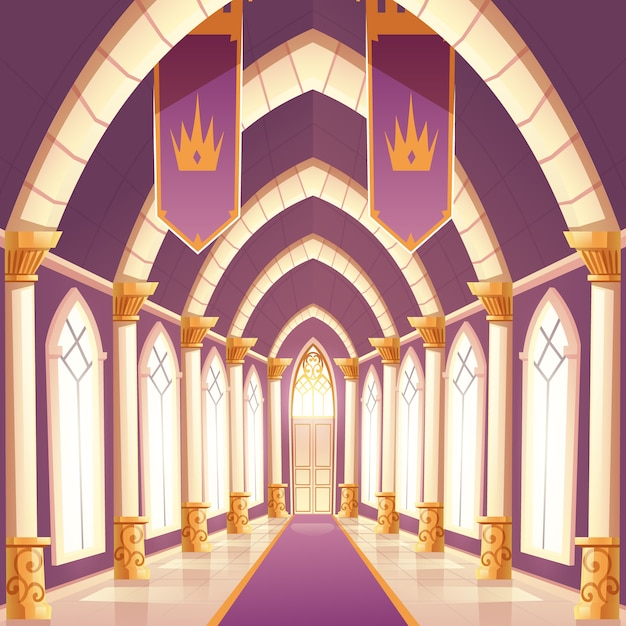 Palace hall, castle column empty corridor interior Free Vector