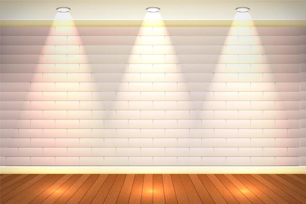 Бледная кирпичная стена с прожектором Бесплатные векторы