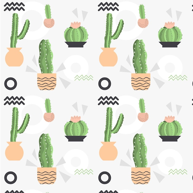 淡い色の異なるサボテンの植物パターン Premiumベクター