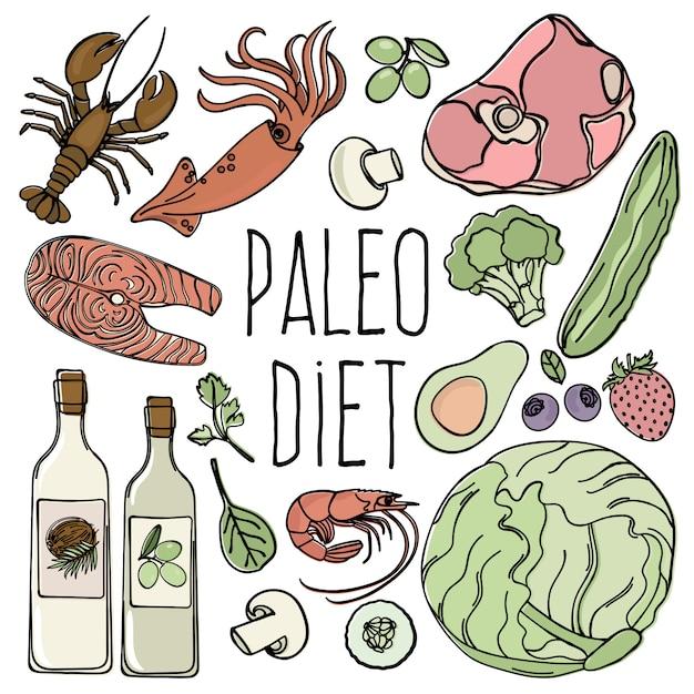 Paleo healthy food low carb diet menu Premium Vector