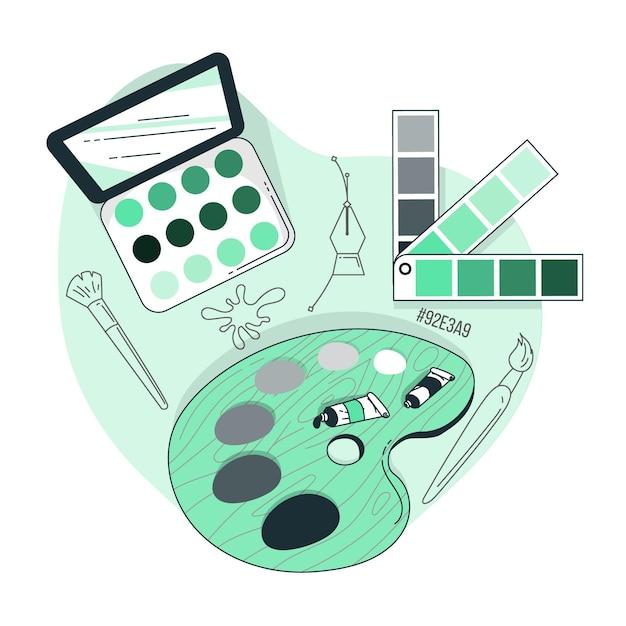 Иллюстрация концепции палитры Бесплатные векторы