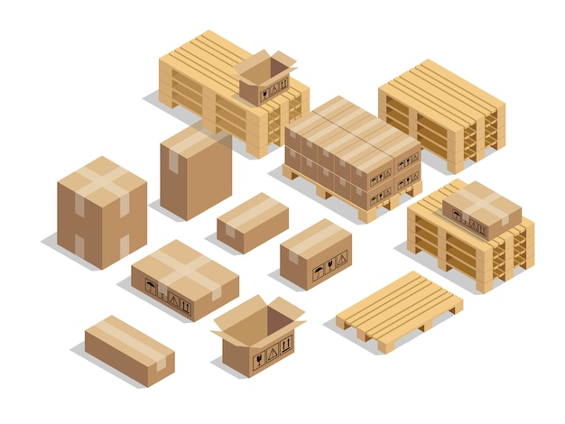Pallets for shipment with cardboard and isometric style Premium Vector