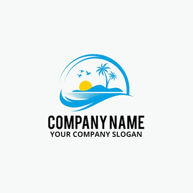 Palm beach logo design Premium Vector