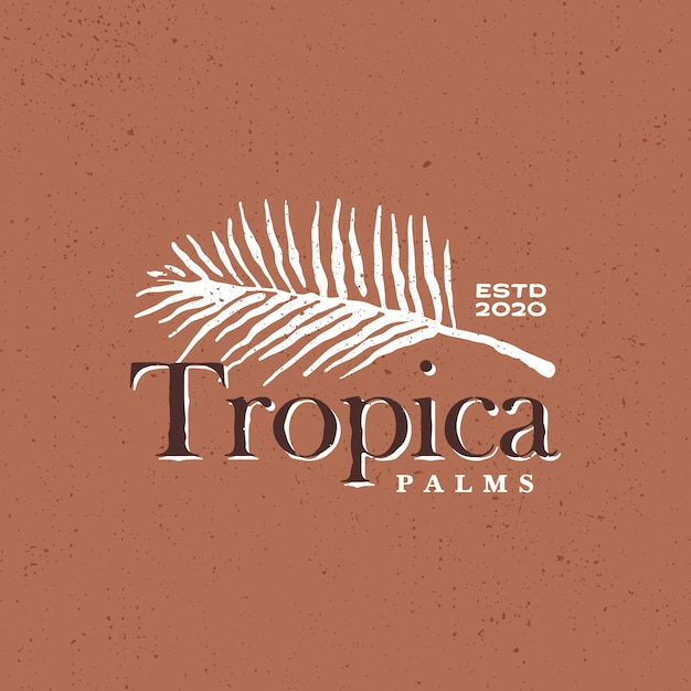 Palm leaf tropical vintage logo  icon illustration Premium Vector