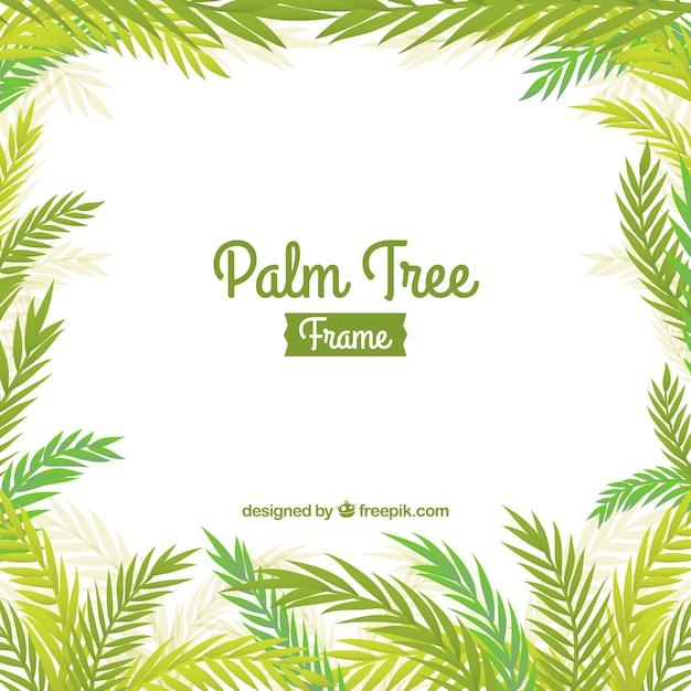 Palm leaves frame background