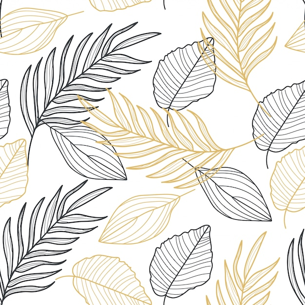 Palm leaves gold line hand drawn seamless pattern Premium Vector