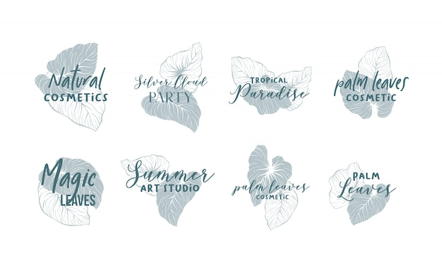 Palm leaves logo design collection Free Vector