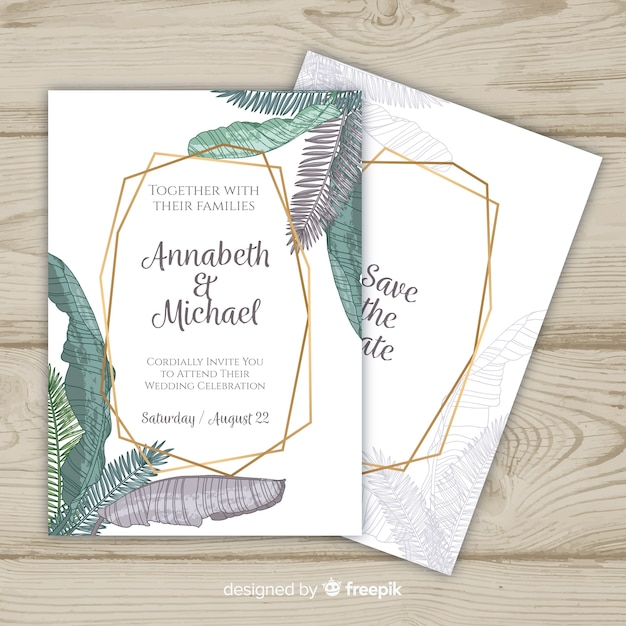 Palm leaves in pastel colors wedding invitation template Free Vector