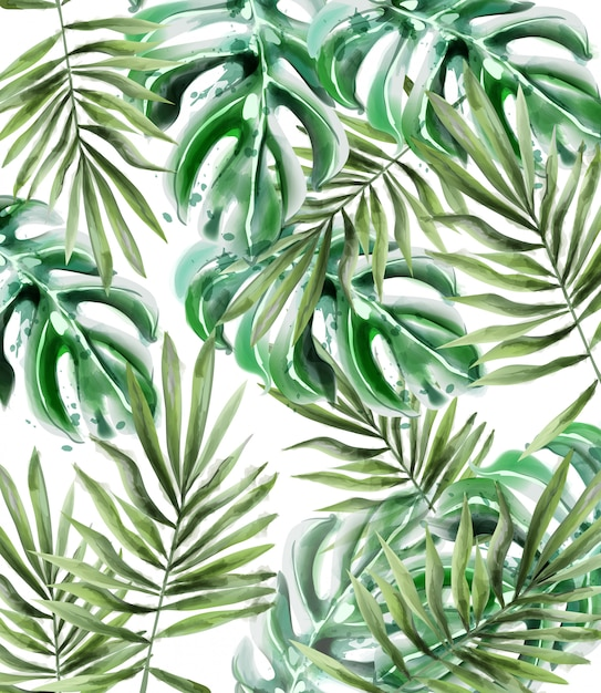 Palm leaves pattern watercolor Premium Vector