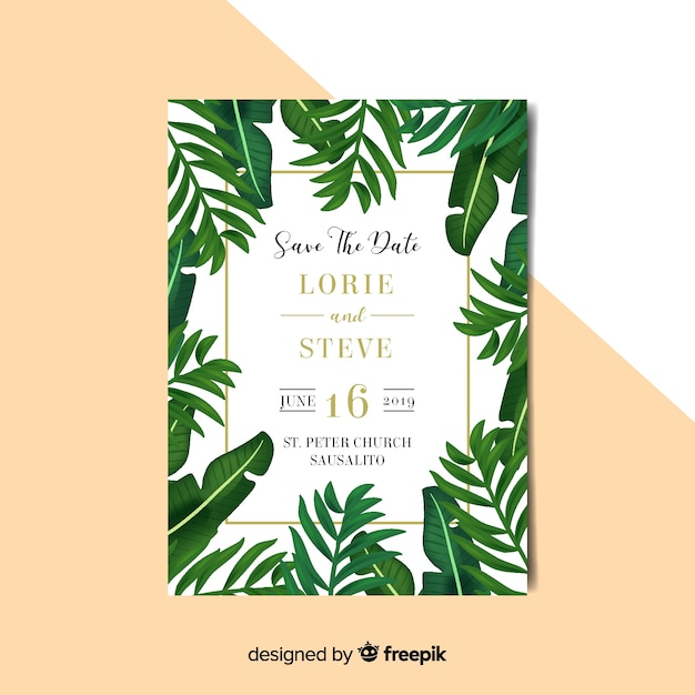Free Vector Palm Leaves Wedding Invitation Template The leaves were hand painted and are not fully editable, although. palm leaves wedding invitation template