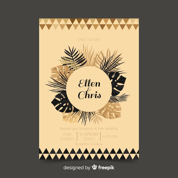 Palm leaves wedding invitation template Free Vector