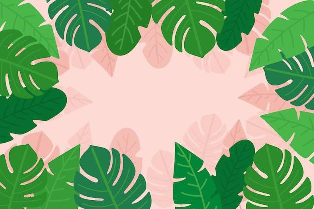 Palm and monstera leaves with copy space Free Vector