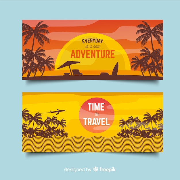 Palm silhouette flat travel banner Free Vector