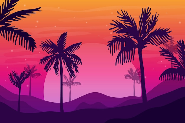Palm silhouettes background style Free Vector