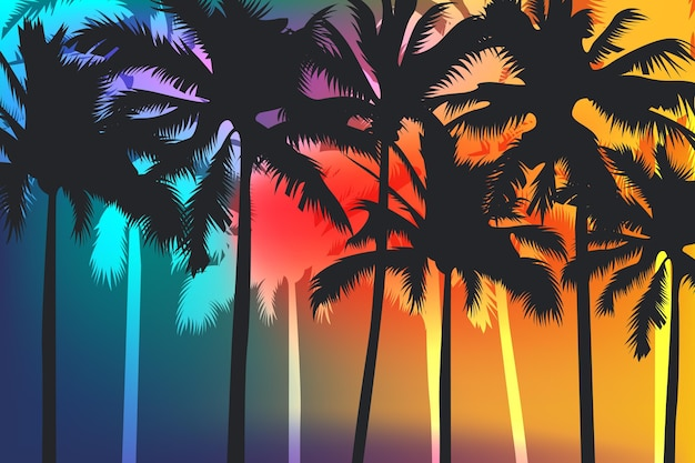 Palm silhouettes background theme Free Vector