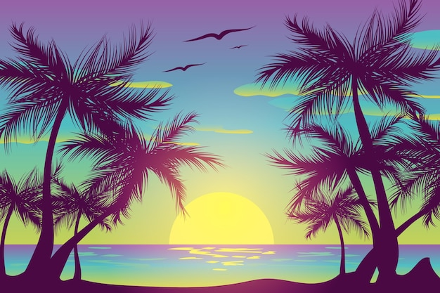 Palm silhouettes and birds in the sky background Free Vector
