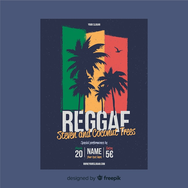 Palm silhouettes reggae poster Free Vector