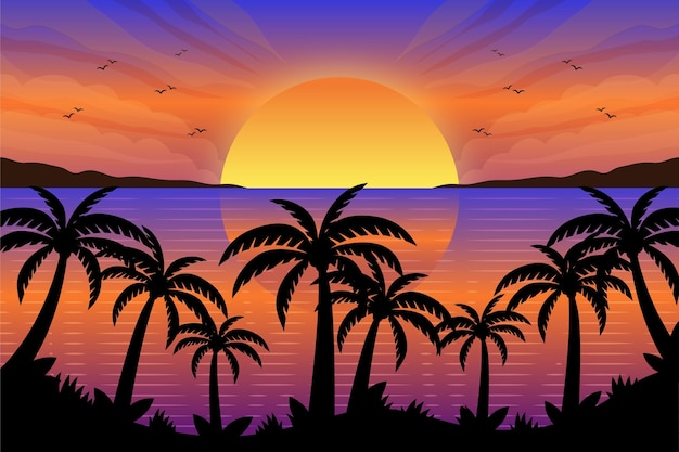 Palm silhouettes wallpaper Free Vector