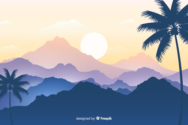 Palm tree and chain of mountains landscape Free Vector