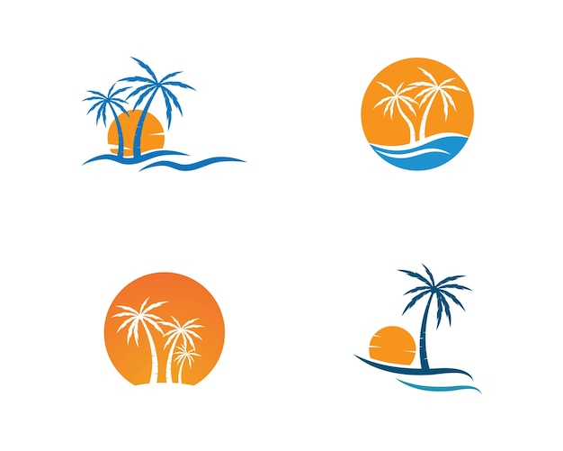 Palm tree  logo template illustration vector Premium Vector
