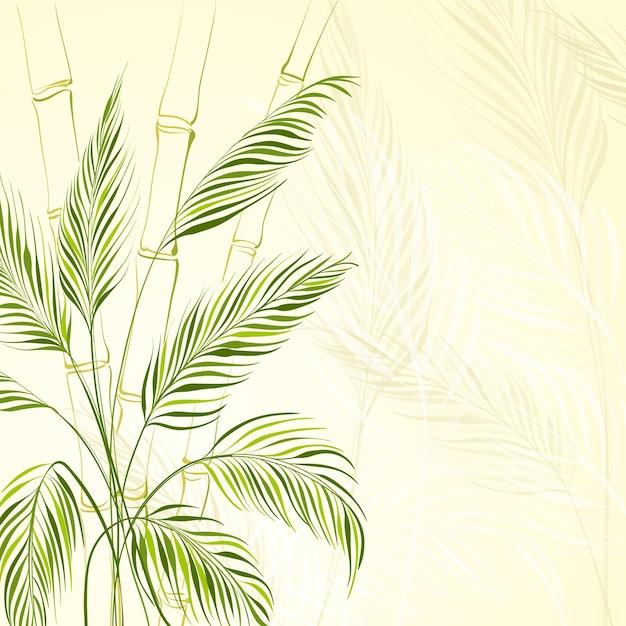 대나무 숲 위에 야자수 무료 벡터
