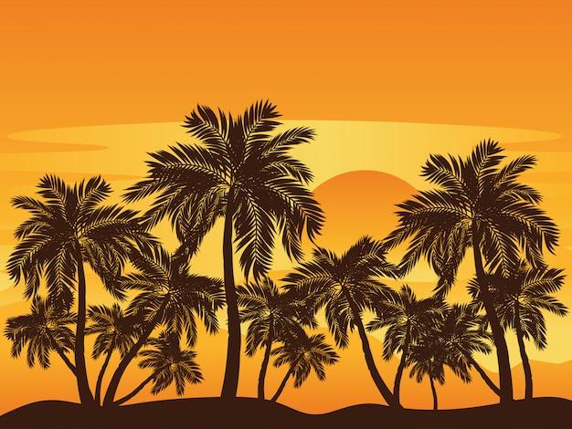 Palm tree at sunset Premium Vector