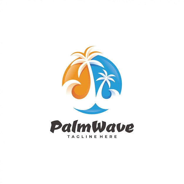 Palm tree wave beach logo Premium Vector