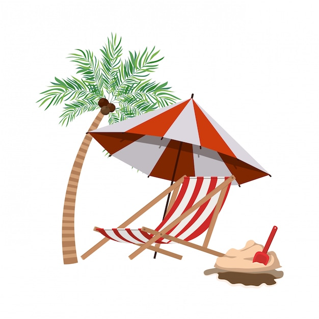 Palm tree with beach umbrella striped Free Vector