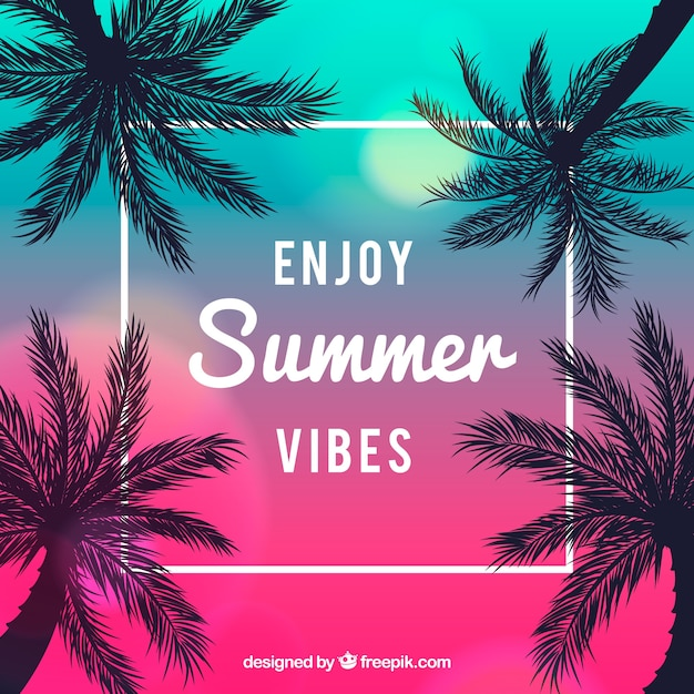 Palm trees backgroud with summer quote Vector | Free Download