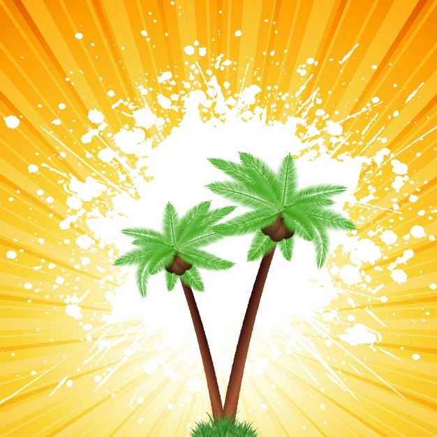 درختان نخل در یک پس زمینه گرانج آفتاب سوخته