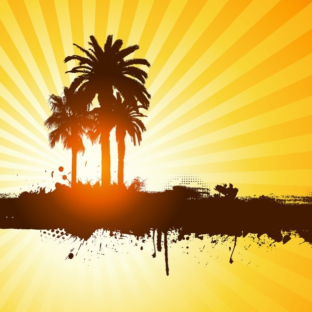 palm trees silhouettes on a yellow background vector free download