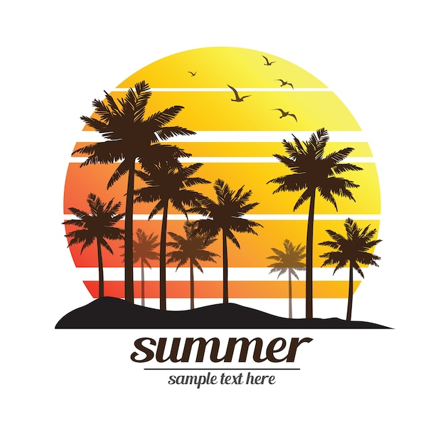Palm trees sunset Premium Vector