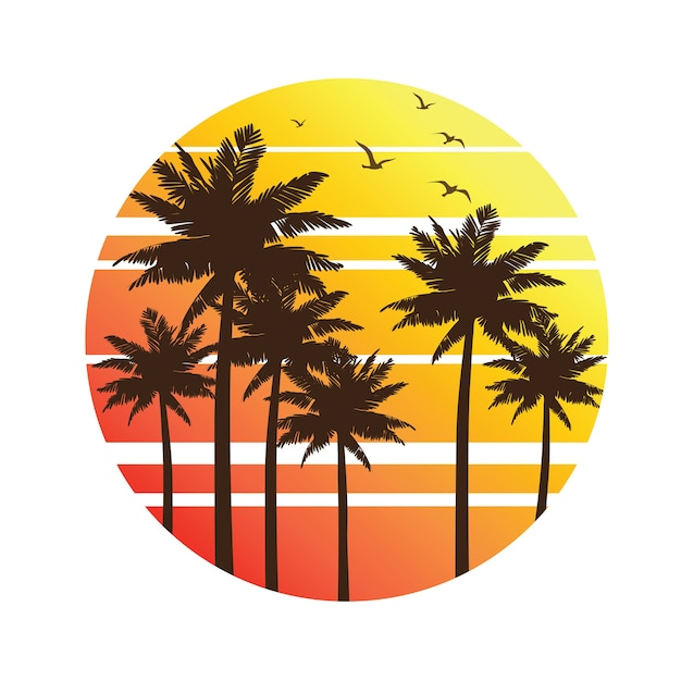 Palm trees sunset Premium Vector