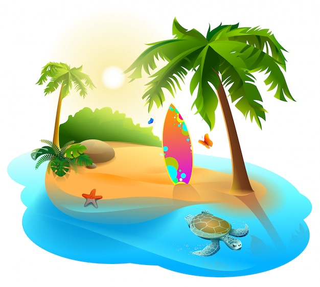 Palm trees, tropical island and surfboard Premium Vector