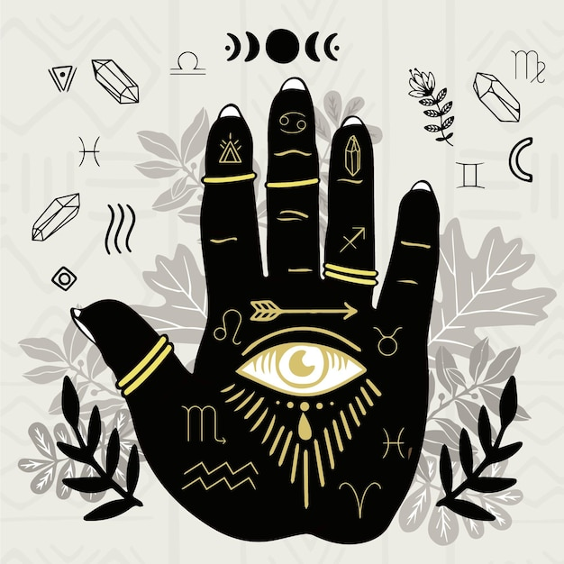 Palmistry concept with eye symbol Free Vector