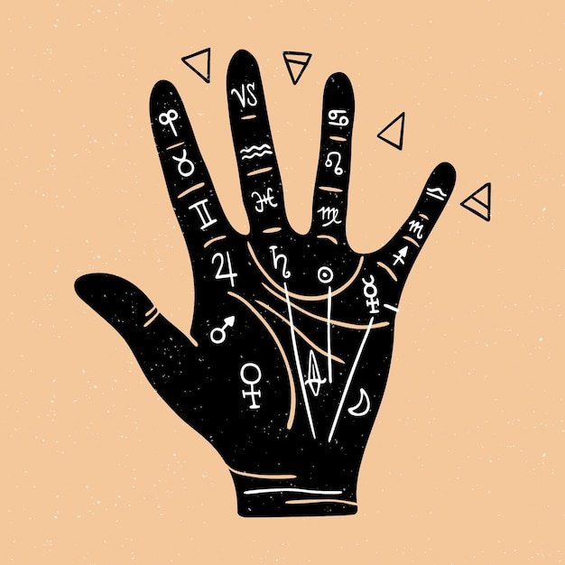Хиромантия концепция с рукой Бесплатные векторы