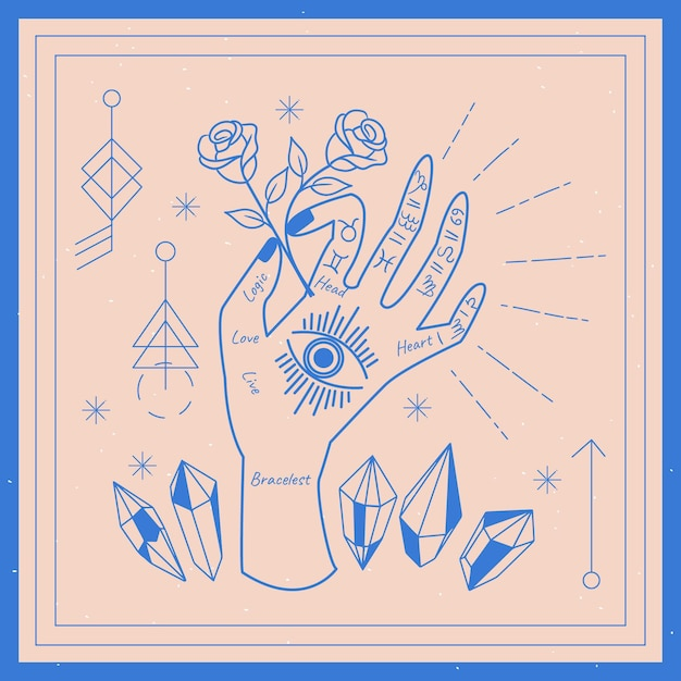 Palmistry concept with rose Free Vector