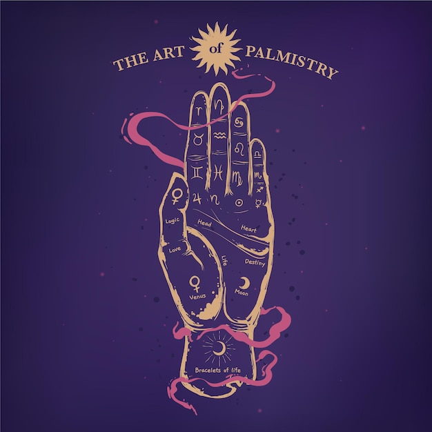 Palmistry mystical concept Free Vector