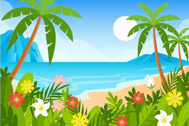 ビデオコミュニケーションのためのヤシとビーチの背景 無料ベクター