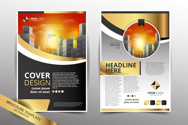 pamphlet design template with city background gold color vector