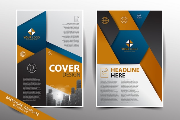 pamphlet design template with city background in blue and yellow