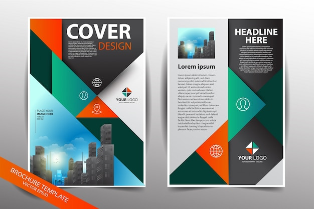 pamphlet design template with city background vector premium download