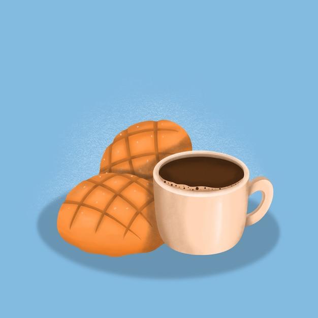 Пан & кофе, завтрак иллюстрация Premium векторы