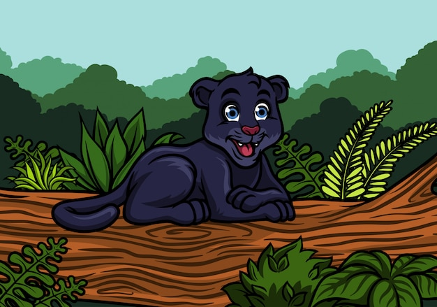 ジャングルの中で若い黒pan Premiumベクター