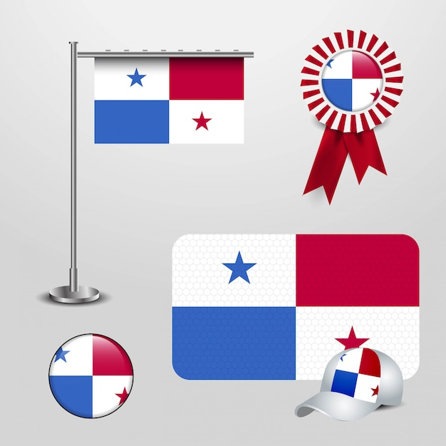 Panama country flag haning on pole, ribbon badge banner, sports hat and round button Premium Vector