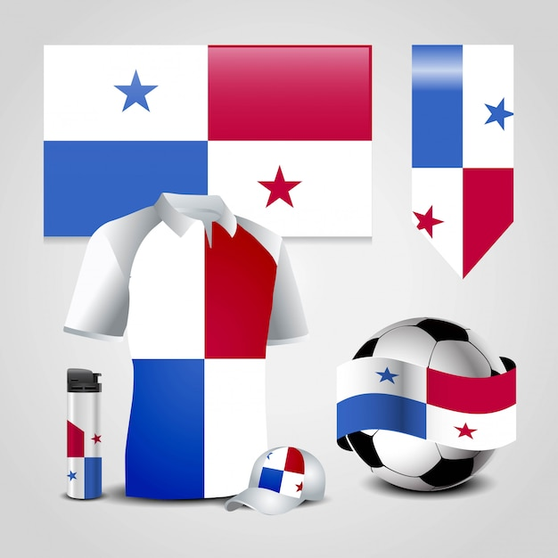 Panama country flag place on t-shirt, lighter, soccer ball, football and sports hat Premium Vector