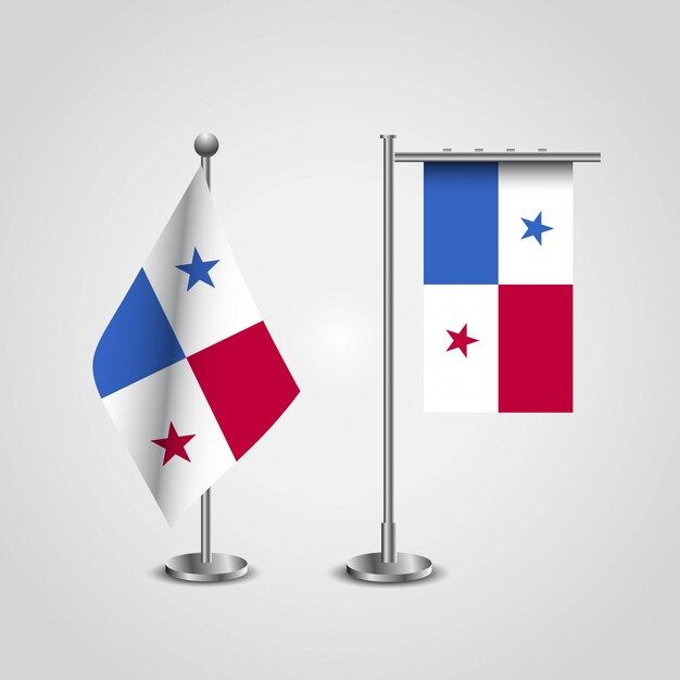 Panama country flag on pole Premium Vector