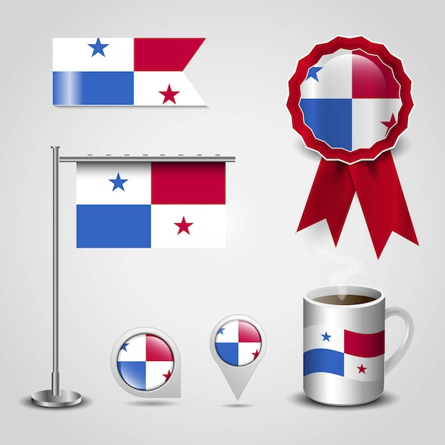 Panama country flag set Premium Vector