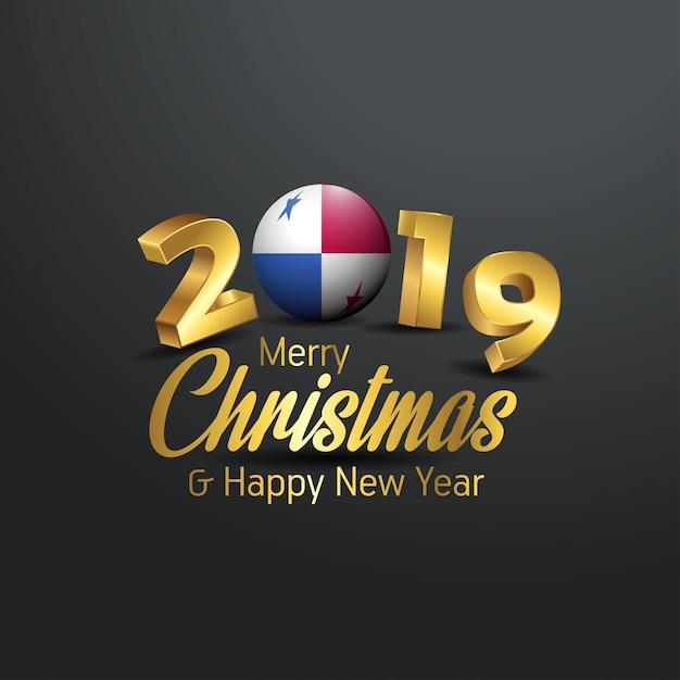 Panama flag 2019 merry christmas typography Premium Vector